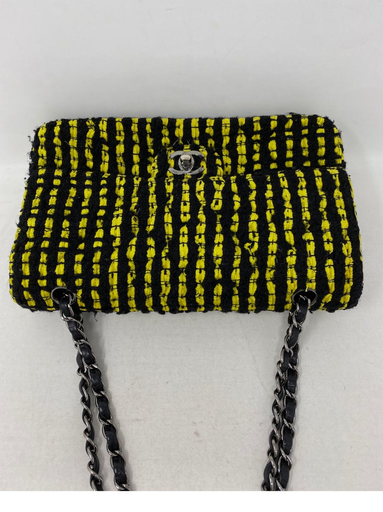 Chanel Yellow and Black Tweed Bag For Sale 6