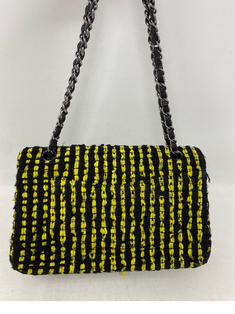 Chanel Yellow and Black Tweed Bag For Sale 7