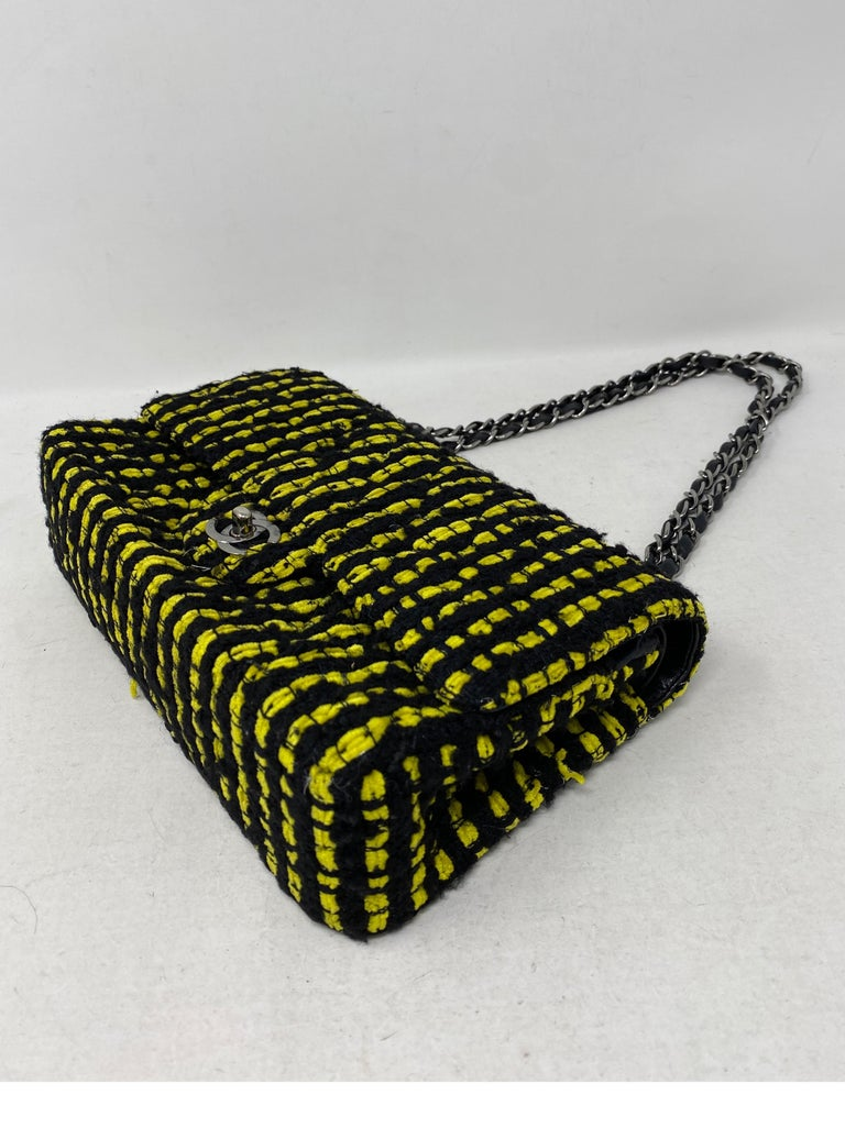 Chanel Yellow and Black Tweed Bag For Sale 8