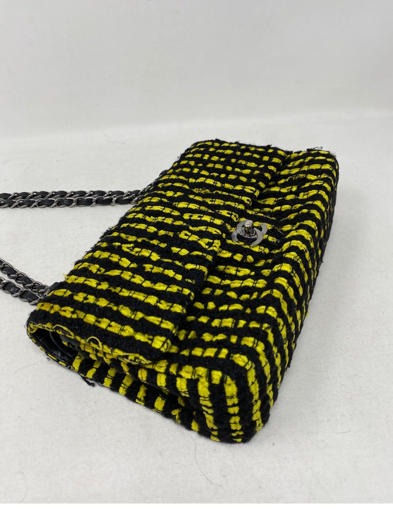 Chanel Yellow and Black Tweed Bag For Sale 9