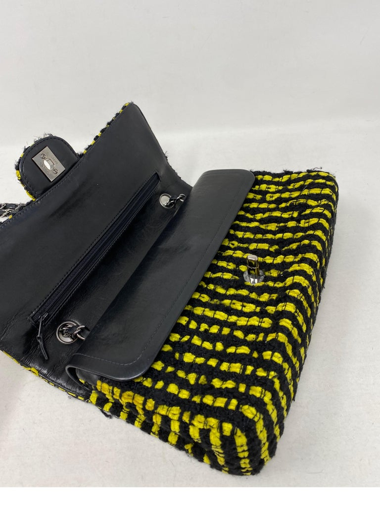 Chanel Yellow and Black Tweed Bag For Sale 10