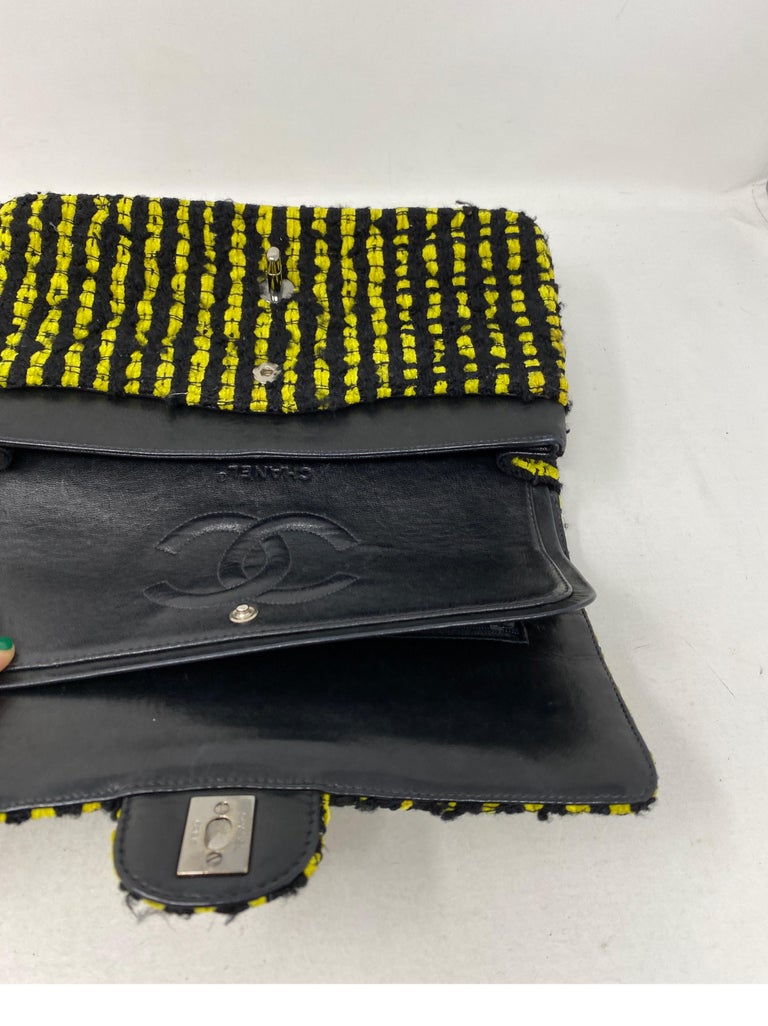 Chanel Yellow and Black Tweed Bag For Sale 12