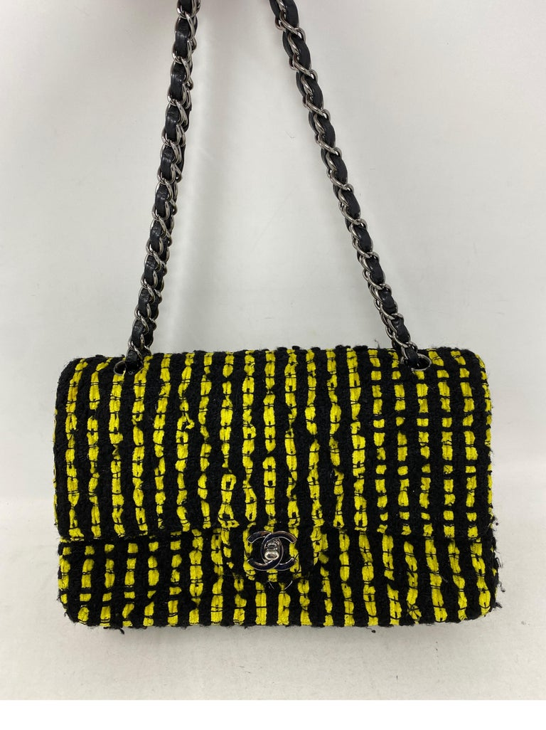 Women's or Men's Chanel Yellow and Black Tweed Bag For Sale