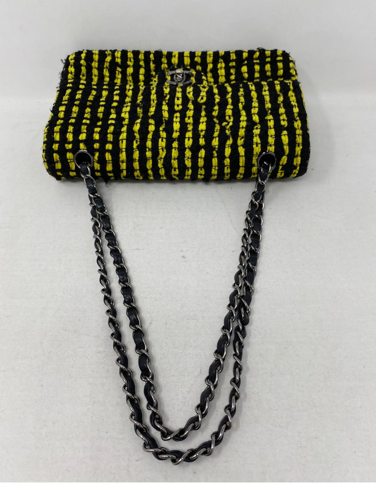 Chanel Yellow and Black Tweed Bag For Sale 5