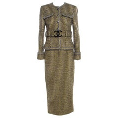 Chanel Yellow and Grey Fantasy Tweed Belted Blazer and Dress Set M