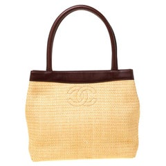 Chanel Yellow/Brown Raffia and Leather CC Tote