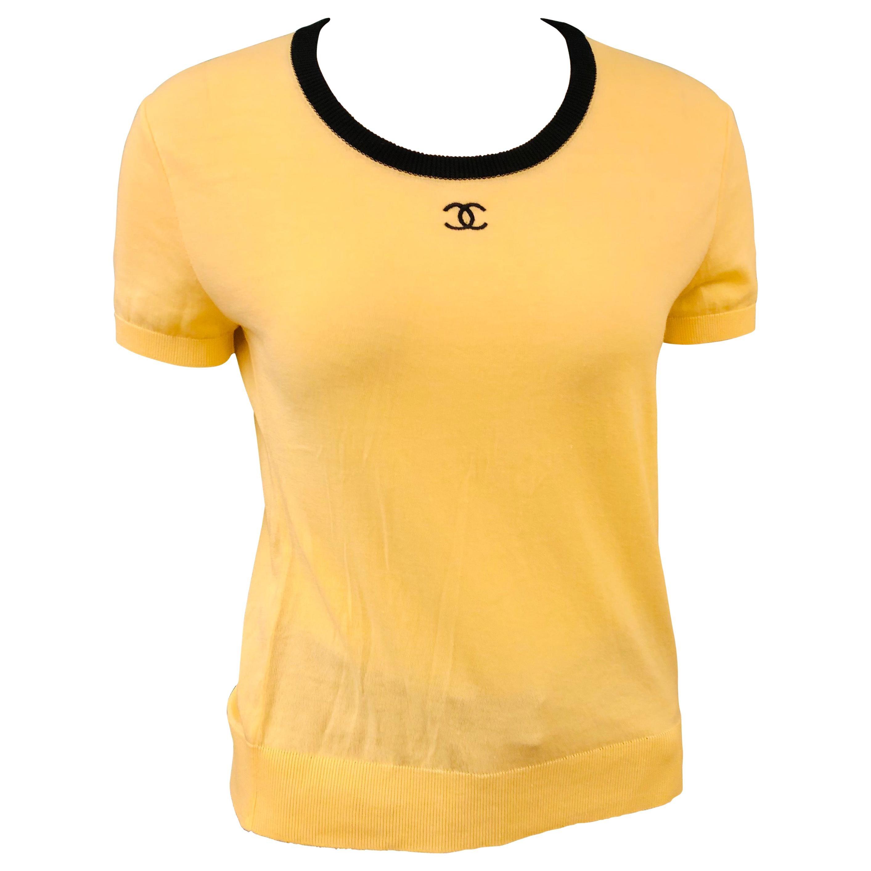 "Chanel Yellow ""CC"" Cotton Top"