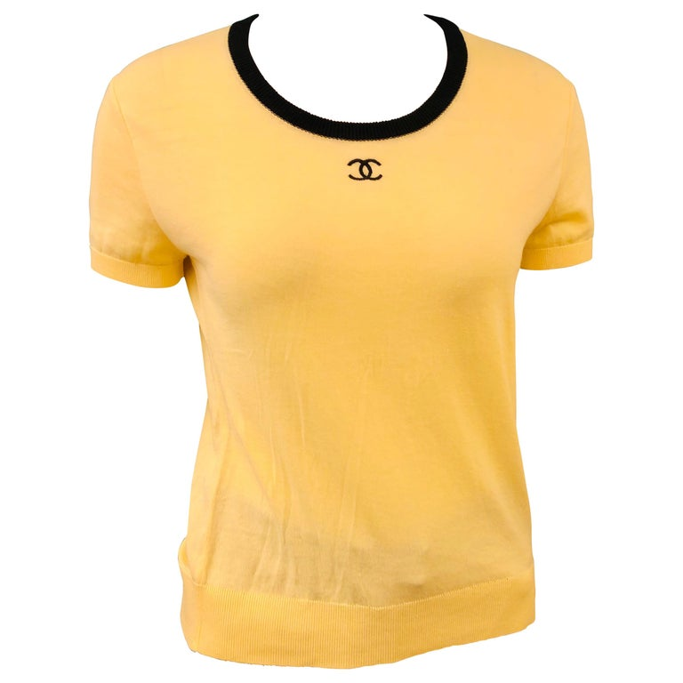 """Chanel Yellow """"CC"""" Cotton Top For Sale"""