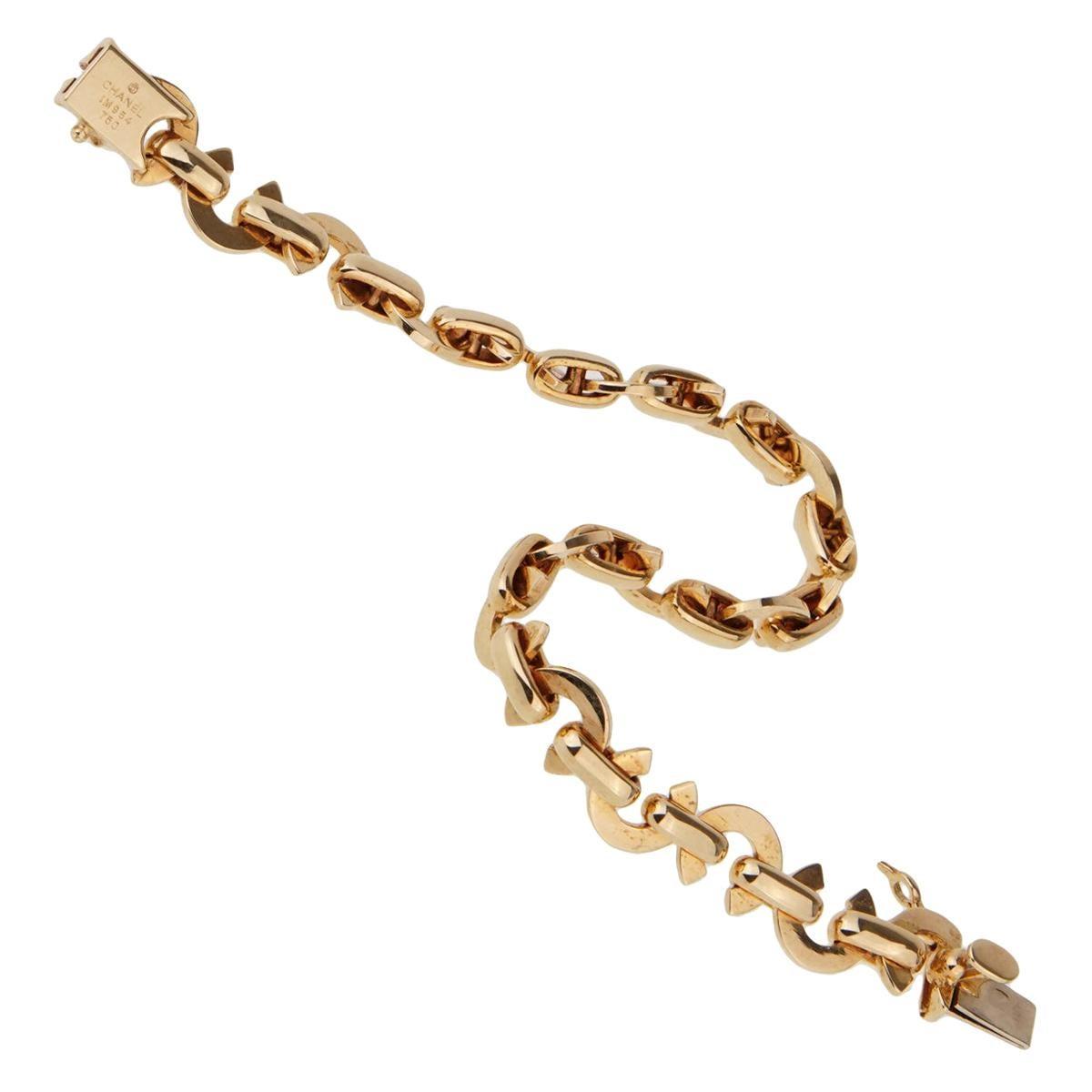 Chanel Yellow Gold C Charm Bracelet