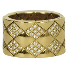 Chanel Yellow Gold & Diamond Quilted Coco Crush Metalasse Thick Band Ring sz 6