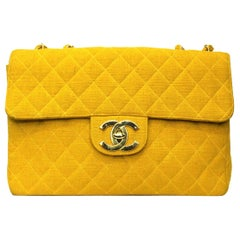 Chanel Yellow Jersey Maxi Jumbo Bag