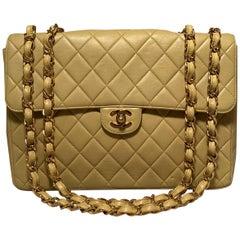 Chanel Yellow Jumbo Classic Flap Shoulder Bag