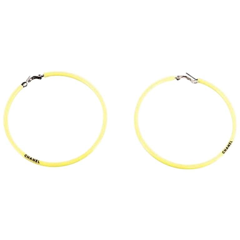Chanel Yellow Jumbo Neon Hoop Vintage Runway 2004 Earrings For Sale