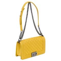 Chanel Yellow Leather Boy Bag Medium