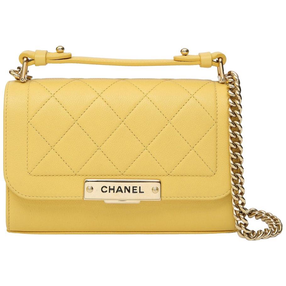 Chanel yellow leather crossbody shoulder bag