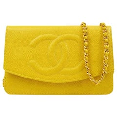 Chanel Yellow Leather Gold Small Wallet on Chain WOC Shoulder Flap Bag in Box