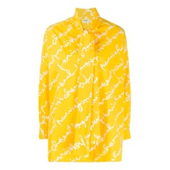 Chanel Yellow Logo Cotton Shirt Pussy Bow Tie