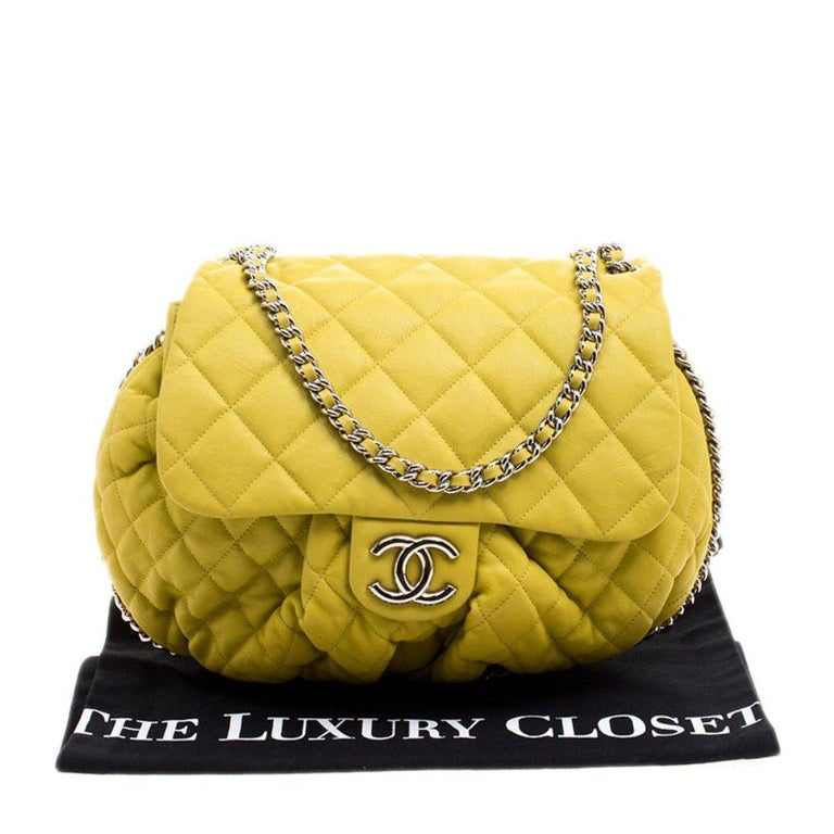 Chanel Yellow Quilted Leather Chain Around Shoulder Bag For Sale 8