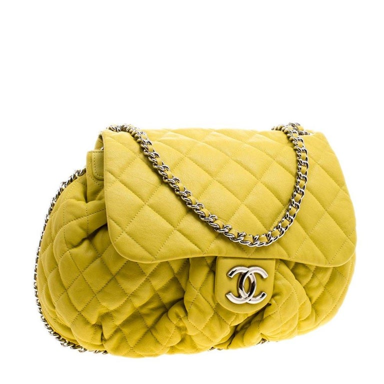 Women's Chanel Yellow Quilted Leather Chain Around Shoulder Bag For Sale