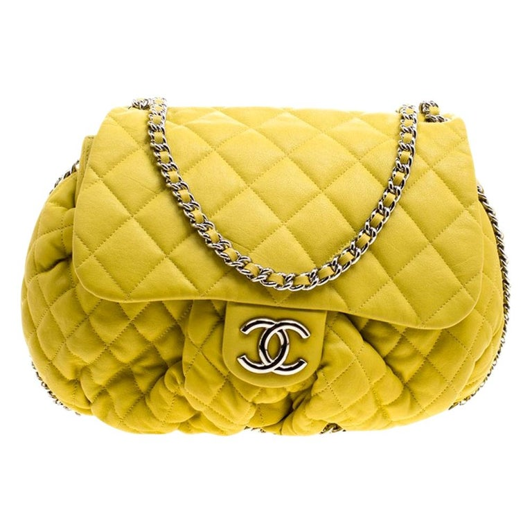 Chanel Yellow Quilted Leather Chain Around Shoulder Bag For Sale