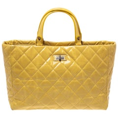 Chanel Yellow Quilted Leather Chain Tote