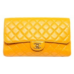 Chanel Yellow Quilted Leather Flap Clutch Bag