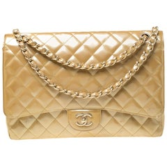 Chanel Yellow Quilted Patent Leather Maxi Classic Single Flap Bag