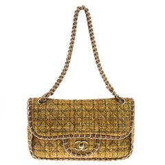 Chanel Yellow Quilted Tweed and Leather Medium Classic Single Flap Bag