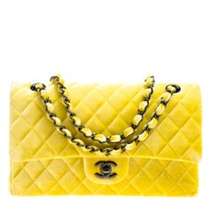Chanel Yellow Quilted Velvet Medium Classic Double Flap Bag