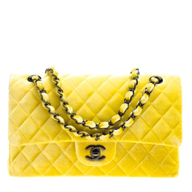 72a8fde1c6e9 Chanel Yellow Quilted Velvet Medium Classic Double Flap Bag at 1stdibs