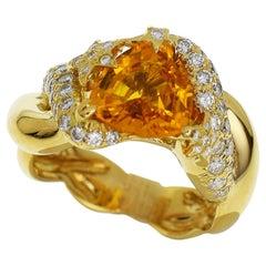 Chanel Yellow Sapphire Diamond 18 Karat Yellow Gold Comet Ring