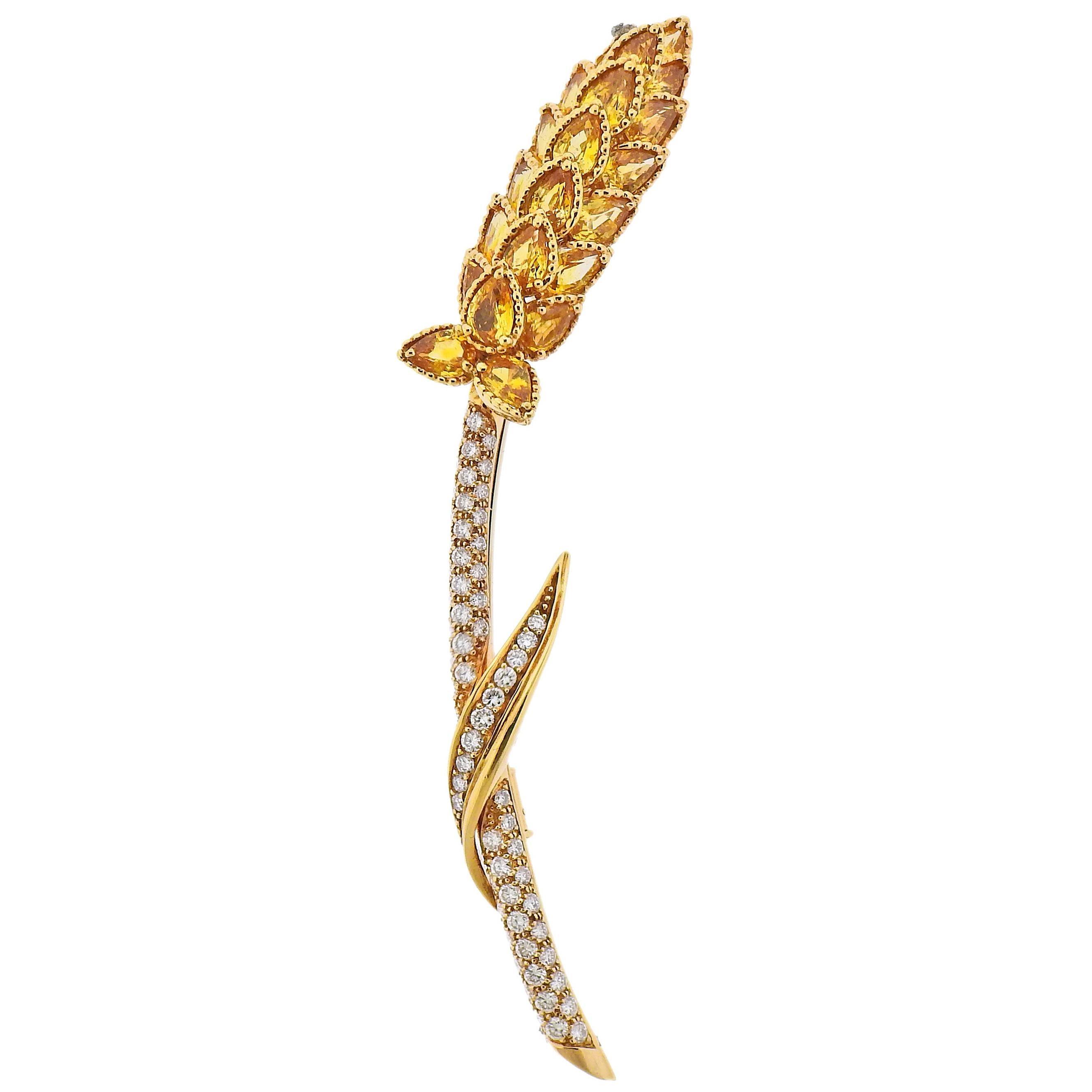 Chanel Yellow Sapphire Diamond Gold Brooch Pin