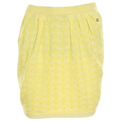 Chanel Yellow Textured Cotton Jacquard Knit Mini Skirt S