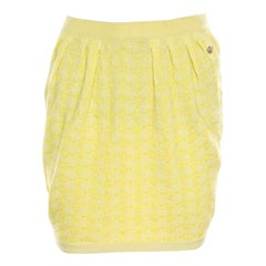 Chanel Yellow Textured Cotton Jacquard Knit Mini Skirt S