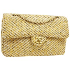 Chanel Yellow Tweed Gold Medium Evening Shoulder Flap Bag in Box