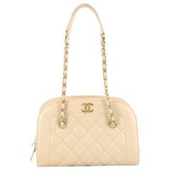 Chanel Zip Around Chain Camera Bag Quilted Lambskin Medium