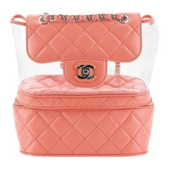 Chanel Zip Around Flap Backpack Quilted Crumpled Calfskin and PVC Small