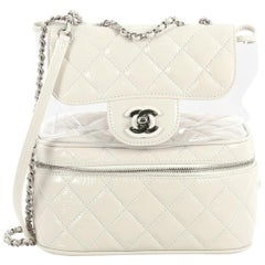 Chanel Zip Around Flap Bag Quilted Crumpled Calfskin and PVC Small