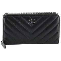 Chanel Zip Around Wallet Chevron Lambskin Small