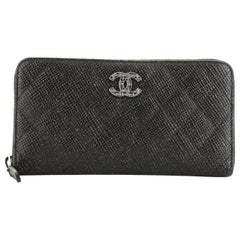 Chanel Zip Around Wallet Quilted Glittered Calfskin Long