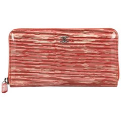 Chanel Zip Around Wallet Striped Patent Long