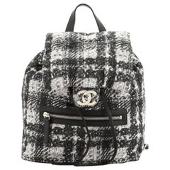 Chanel Zip Printed Medium Black and White Nylon Backpack