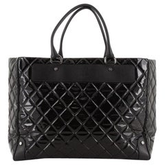 Chanel Zip Top Shopper Quilted Patent Large