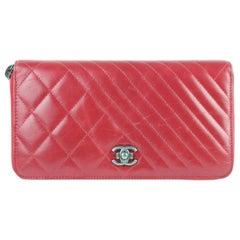 Chanel Zippy Boy Chevron Mix Quilted Zip Around Gusset Wallet 9ce0102 Red clutch