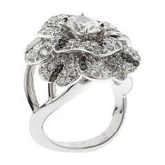 Chanelt Diamond 18k White Gold and BlackDiamond Cocktail Ring Size 51