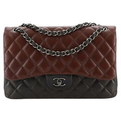 ChanelTricolor Classic Double Flap Bag Quilted Lambskin Jumbo