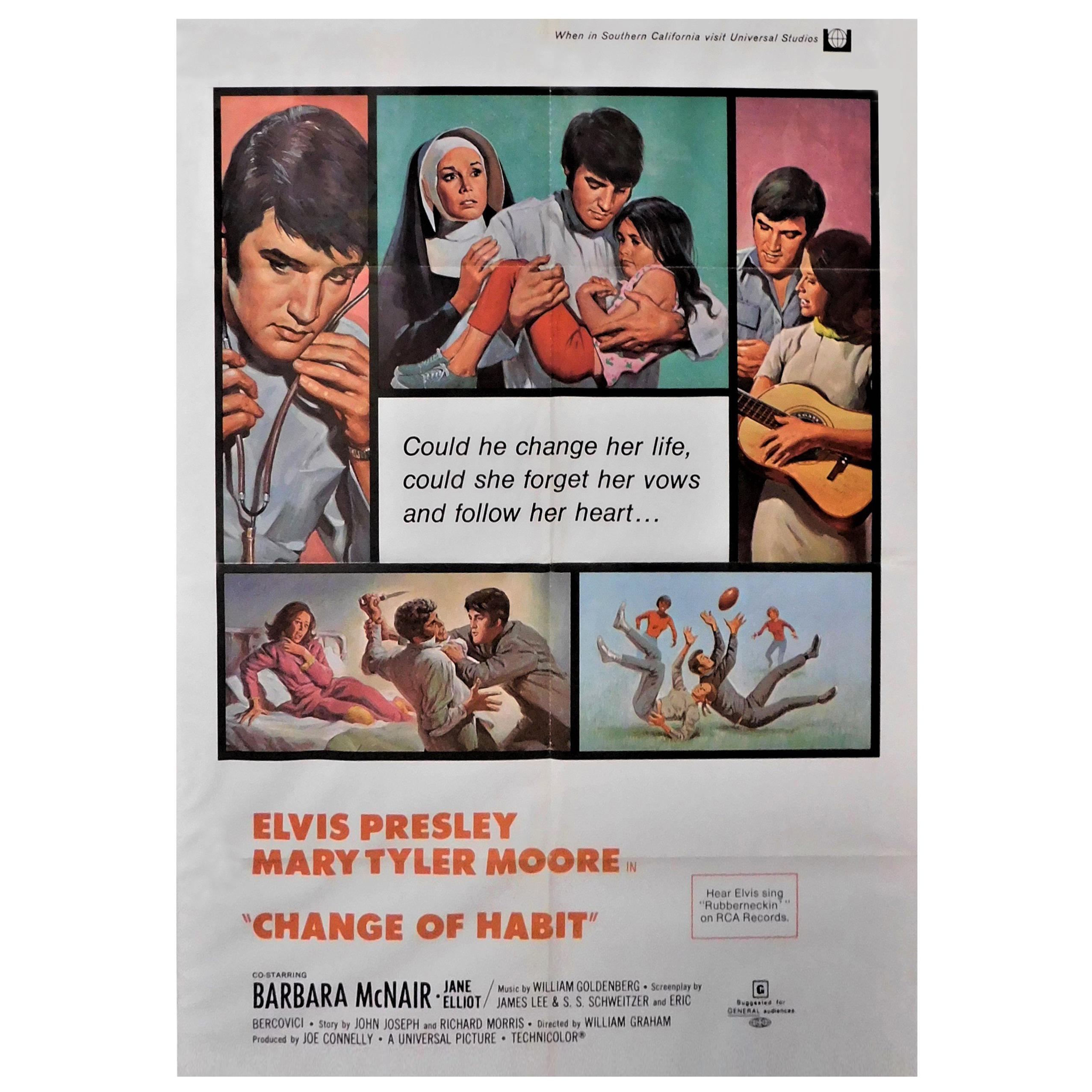 Change of Habit Elvis Presley 1969 Original Theatrical Poster Mary Tyler  Moore