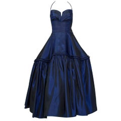 Changeante Sapphire Silk Ball Gown with Tabletop Skirt, Paris - XS, 1950s