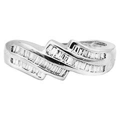 Channel Baguette Diamond Band Ring .80 Carat VS 14 Karat Gold