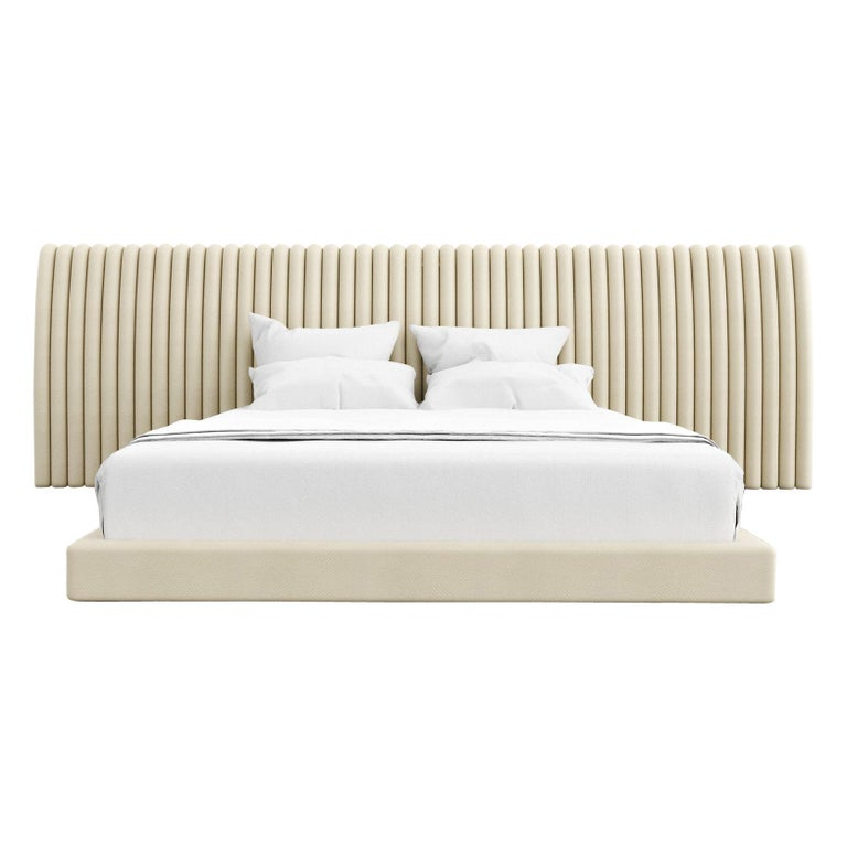 CHANNEL BED - Modern Bed with Kimodo Faux Leather Frame and Headboard For Sale